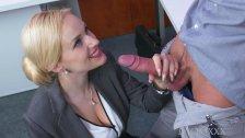 MOM Blonde big tits Milf sucks massive geek cock before hard fucking