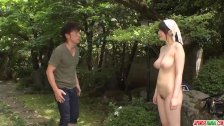 Busty milf Rie Tachikawa tries young cock in her furry pussy - duration 12:16