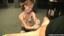 Mega sized load for the horny redhead