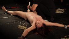 RedHead Dragged In Woods Punished with Wax and Big Masturbation Toy - duration 10:09