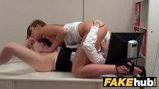 Female Agent Interview climaxes in hot pussy eating lesbian sex