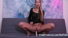 Natural Teen Kimber Lee Rides Dildo in Onesie Till She Cums!
