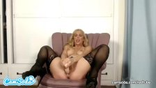 Cherie Deville big tits MILF fucking and sucking dildo.