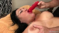 BBW Gets a Massage & a Dildo Up Her Cunt