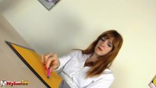 Redhead Secretary Irina Vega in Pantyhose masturbates with a Magic Wand