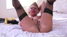 Sexy French Milf Chloe wanks hairy wet pussy in garter vintage nylons