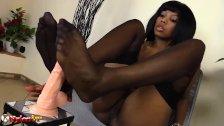 Ebony beauty in stockings Footjob and Masturbation