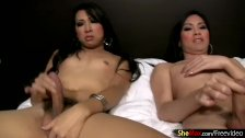 Ladyboy girlfriends are jerking their girl rods in threesome