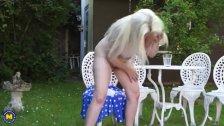 Huge titted blonde Mom Fingering Herself Outdoor