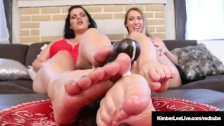 Tiny Kimber Lee & BBW Angelina Castro Give Dildo A FootJob!