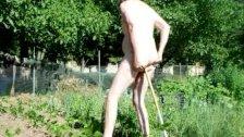 Transvestite Outdoors Garden Anal Sextoy Fisting Dildo 35