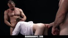 MormonBoyz - Young missionary filled by two daddy monster cocks