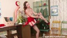 Brunette Sophia Smith on phone in stylish retro lingerie nylons high heels