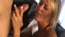 Two MILF enjoying rubbing and massaging hard to a two big fat cock