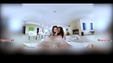 Keisha Grey and Abella Danger deep throating cock together VR