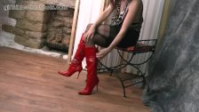 Kinky brunette Milf teases tits nylon legs panties and sexy leather boots