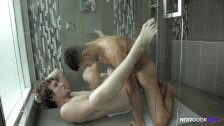 High School Bros Bareback in the Shower for NextDoorRaw!
