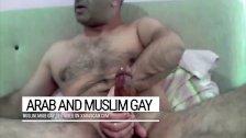 Cum splashes on a furry body. Arab gay Libyan is a fountain of manhood
