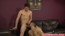 Pierced tattooed hunk and horny twink rough ass fucking