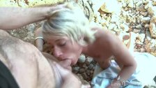 Slim Blonde Chokes On Hard Cock At Beach