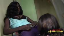 Hot as fuck ebony lesbians having fun