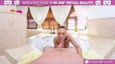 VR PORN - Hot Brunette Fucks and Sucks in the Hot Tub