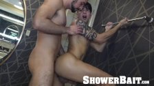 ShowerBait Str8 bait shower fuck with Casey Everett and Mason Lear
