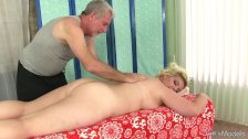 chubby girl massage with oil and toys