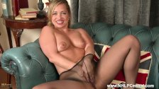 Cheeky blonde Olga Cabaeva rips crotch off sheer nylon pantyhose toys dildo