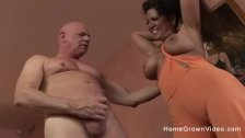 Big tit amateur milf gets her holes stretched