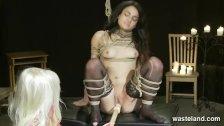 Intense Bondage And Lesbian Femdom BDSM With A Dildo On A Stick