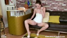 Brunette Sophia Smith strips down to retro nylons heels vintage lingerie
