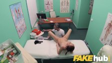 Fake Hospital Doctors thick long dick stretches out tight shaven pussy