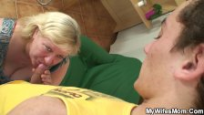 Boy fucks mega boobs wifes mother on the floor