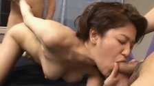 Yumi Oosako moans with cock in each of her holes - More at hotajp com