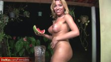 Blonde tranny enjoys sticky watermelon on her round breasts