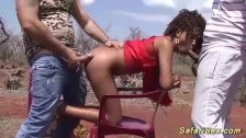 skinny african babe threesome fucked
