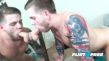 Flirt4Free - Steve Rickz - Tatted Stud Fingers His Big Load Inside His Ass