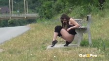 Piss Desperation - Gorgeous babe pees on the ground in public while out jog