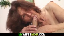 Wife shocked finding her mom riding his cock