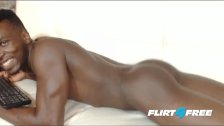 Flirt4Free - Angus Baudin - Ebony Hunk Spreads Ass and Shoots a BBC Load