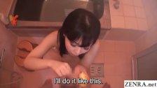JAV star Miori Hara POV blowjob in bath Subtitles
