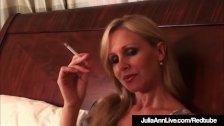 Busty Blonde Milf Julia Ann Puffs On Cigarette Nude In Bed!