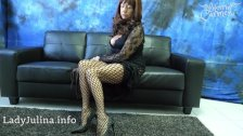- Mature Mistress Herrin Carmen Fishnet Pantyhose Legs and Spike Heels/><br/>                         <span class=