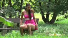 Public Pissing - Pretty brunette European Jane pees in the park