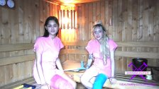 Fetisch-Concept com - 2 girls with long cast leg in sauna
