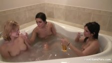 Hot girls are taking a bath together