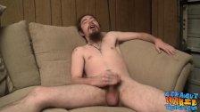 Bearded straight guy unleashing his load