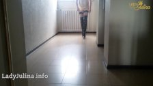 Chantal Sissy Walk Overknee Lack Boots Penis Cage Fishnets