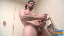Hunky straight guy jerking his fat cock